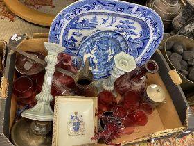 An assortment of cranberry glass etc.