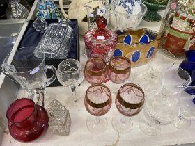 A qty of glassware inc. Cranberry etc.