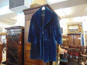A faux fur coat, blue,