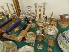 A qty of silver plate, candlesticks etc.