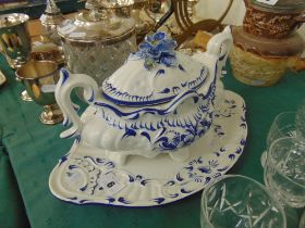 Blue and white lidded tureen on stand