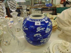 An antique Chinese blue and white ginger jar