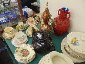 A large teapot, copper coffee pot,