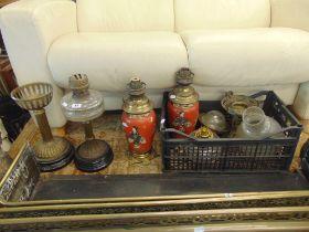 A qty of oil lamps, parts etc.