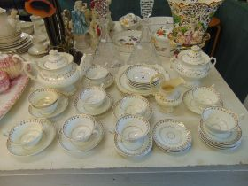 A GOld and white Victorian tea set inc.
