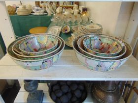 Two Canton fruit bowl sets