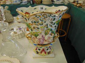 A large porcelain vase,