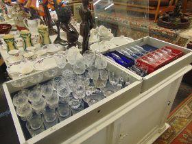 A part suite of glassware etc.