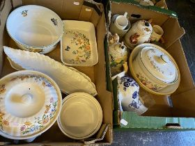 An assortment of Aynsley oven ware and various tea wares