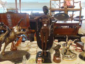 A bronze Artdeco lady with tray