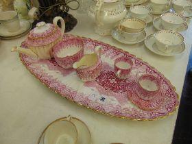 A Copeland part tea service on tray