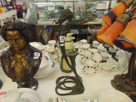 A bronze Artdeco lady lamp base
