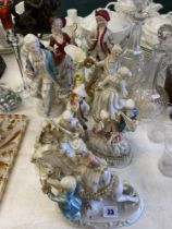 A collection of porcelain figures