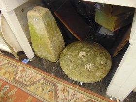 Two garden stone Mushrooms