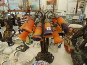 A pair of Tiffany studio style table lamps,