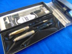 A Montblanc vintage ball point pen and a propelling pencil set, 'Meisterstuck', silver sterling inc.