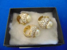 1940's continental Silver gilt paste cocktail and matching earrings,