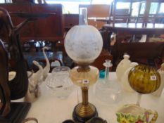 A Victorian French oil lamp