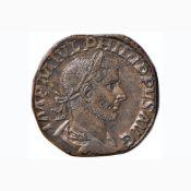 Filippo I (244-249) Sesterzio – R/ La Vittoria andante a d. – RIC 191a AE (g 19,57)