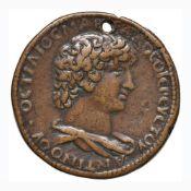 Antinoo - Medaglione postumo - Busto drappeggiato a d. – R/ Mercurio stante trattenendo Pegaso