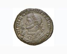 Massenzio (307-313) Follis (Ticinum) Busto laureato in abito consolare a s. – R/ Tempietto –