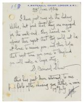 Nobelpreisträger - - Shaw, George Bernard. Postkarte mit eigenhändigem 11-zeiligen Text und voller