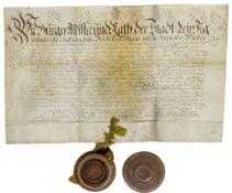 Urkunde aus Leipzig für Johann Gotthelf Gerhard. Deutsche Handschrift von Schreiberhand auf
