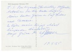 Baumeister, Willi. Eigenhändige Postkarte, datiert 15.5.1955. Vorne mit der Abbildung des