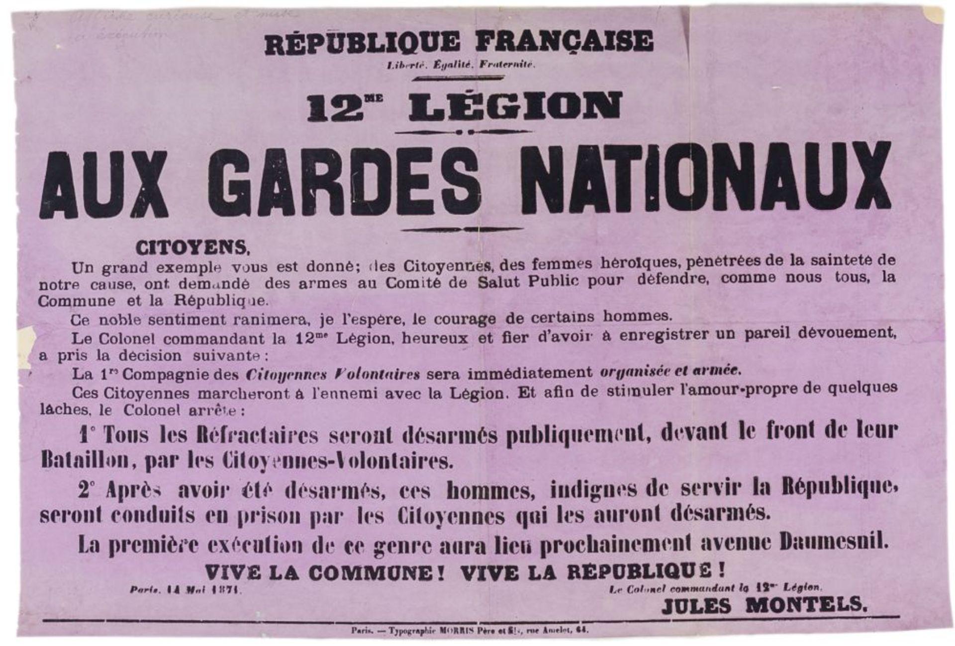 Pariser Kommune - - Sehr umfangreiche Plakatsammlung zur Pariser Commune. Mit 105 Plakaten, 3 - Image 10 of 10