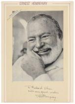 """Nobelpreisträger - - Hemingway, Ernest. Albumblatt mit eigenhändiger Unterschrift und Widmung """"To"""