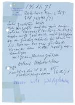 Kokoschka, Oskar. Eigenhändiger Brief auf blauem Briefpapier mit Briefkopf mit Adresse aus
