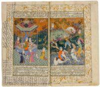 Arabisches Manuskript. Arabische Handschrift in schwarzer Tinte auf Papier. Mit 10 blattgroßen