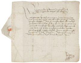 """Friedrich III., der Weise, Kurfürst von Sachsen. Brief mit eigenhändiger Unterschrift """"Frederich m."""