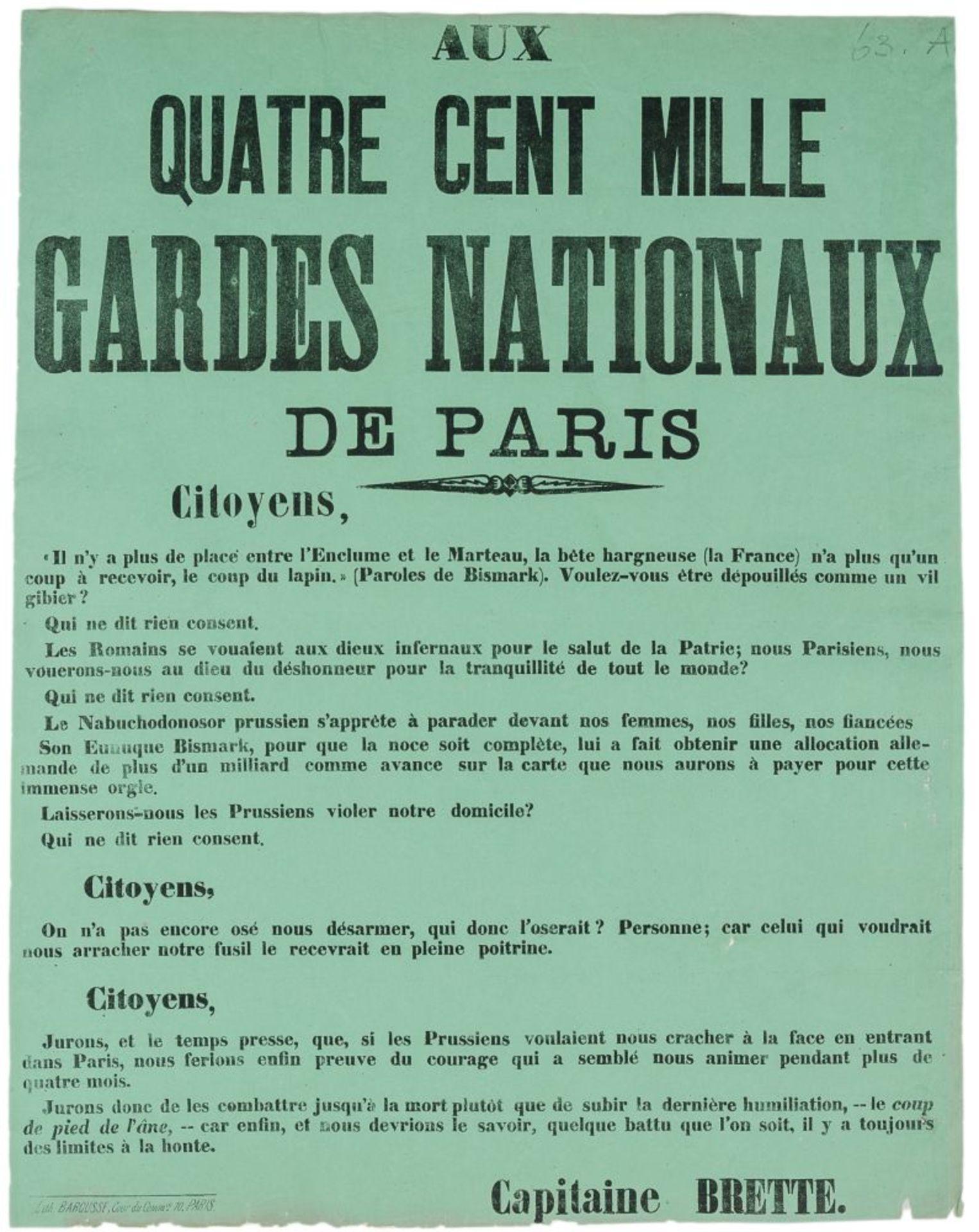 Pariser Kommune - - Sehr umfangreiche Plakatsammlung zur Pariser Commune. Mit 105 Plakaten, 3 - Image 4 of 10