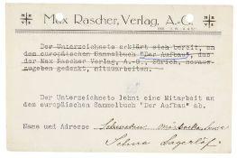 Nobelpreisträger - - Lagerlöf, Selma. Antwortpostkarte an den Züricher Max Rascher Verlag mit
