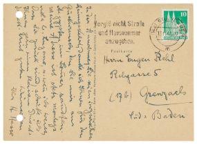 Nobelpreisträger - - Hesse, Hermann. Postkarte mit eigenhändigem 9-zeiligen Text und Unterschrift an