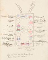 """Gästebuch des """"Museums Artis"""" aus dem Kneippkurort Wörishofen. 125 nn. Bl. (davon 29 mit Einträgen)."""