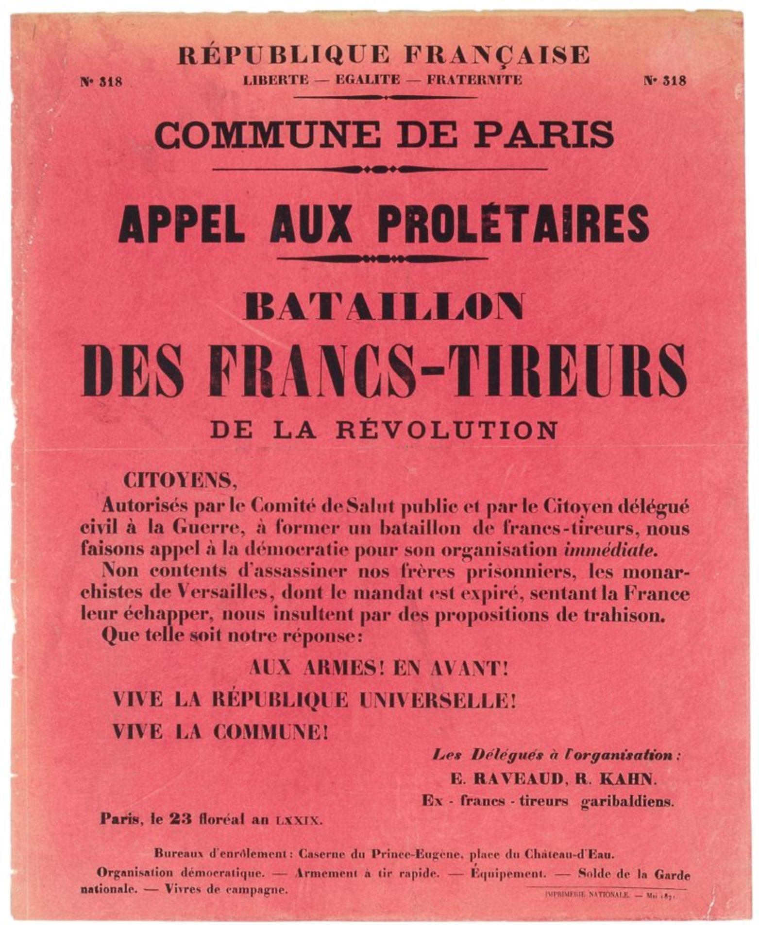 Pariser Kommune - - Sehr umfangreiche Plakatsammlung zur Pariser Commune. Mit 105 Plakaten, 3 - Image 8 of 10