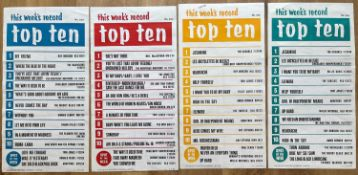 RECORD STORE TOP TEN & TOP 40/50 1960'S POSTERS X 10. From 1967 through to early 1969 and