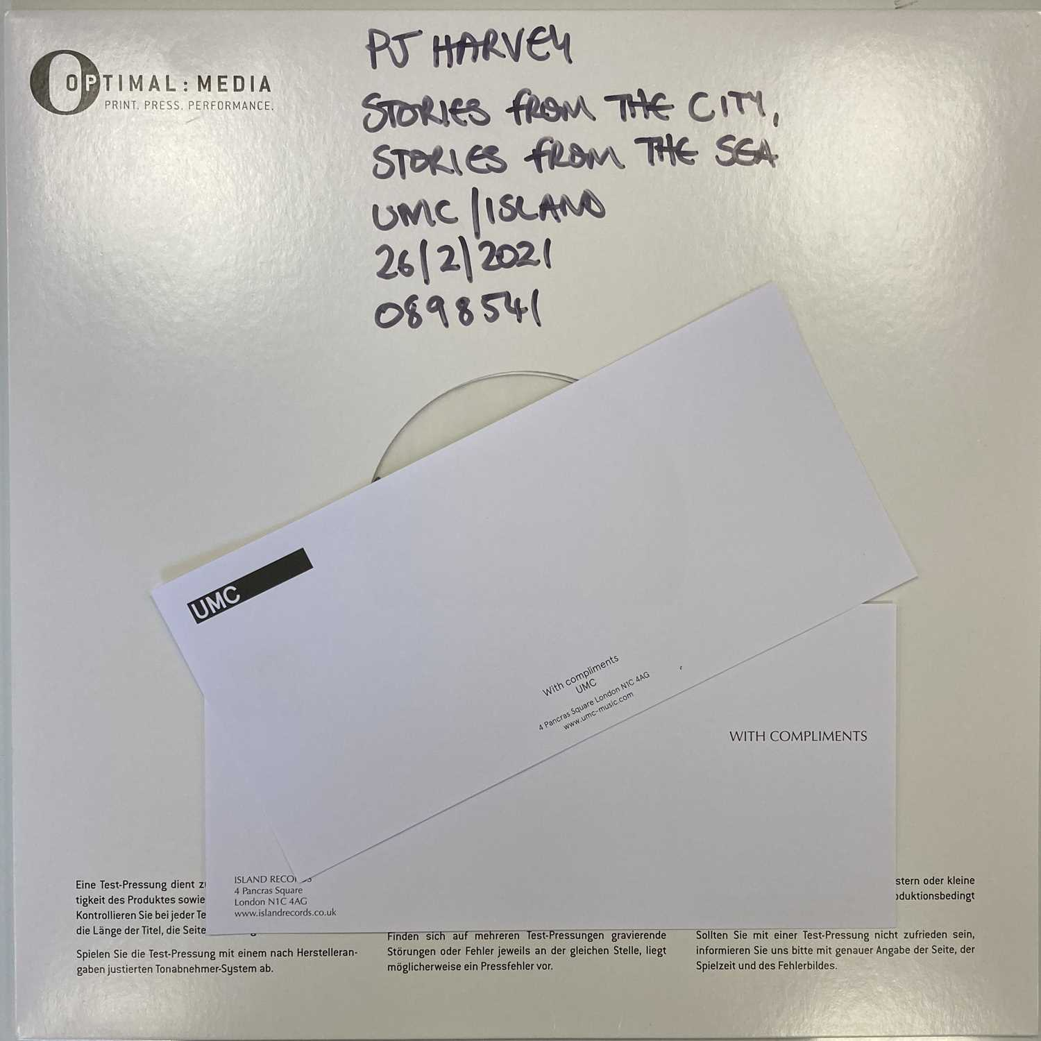PJ HARVEY - STORIES FROM THE CITY, STORIES FROM THE SEA LP (SIGNED & ILLUSTRATED WHITE LABEL TEST PR - Image 5 of 5