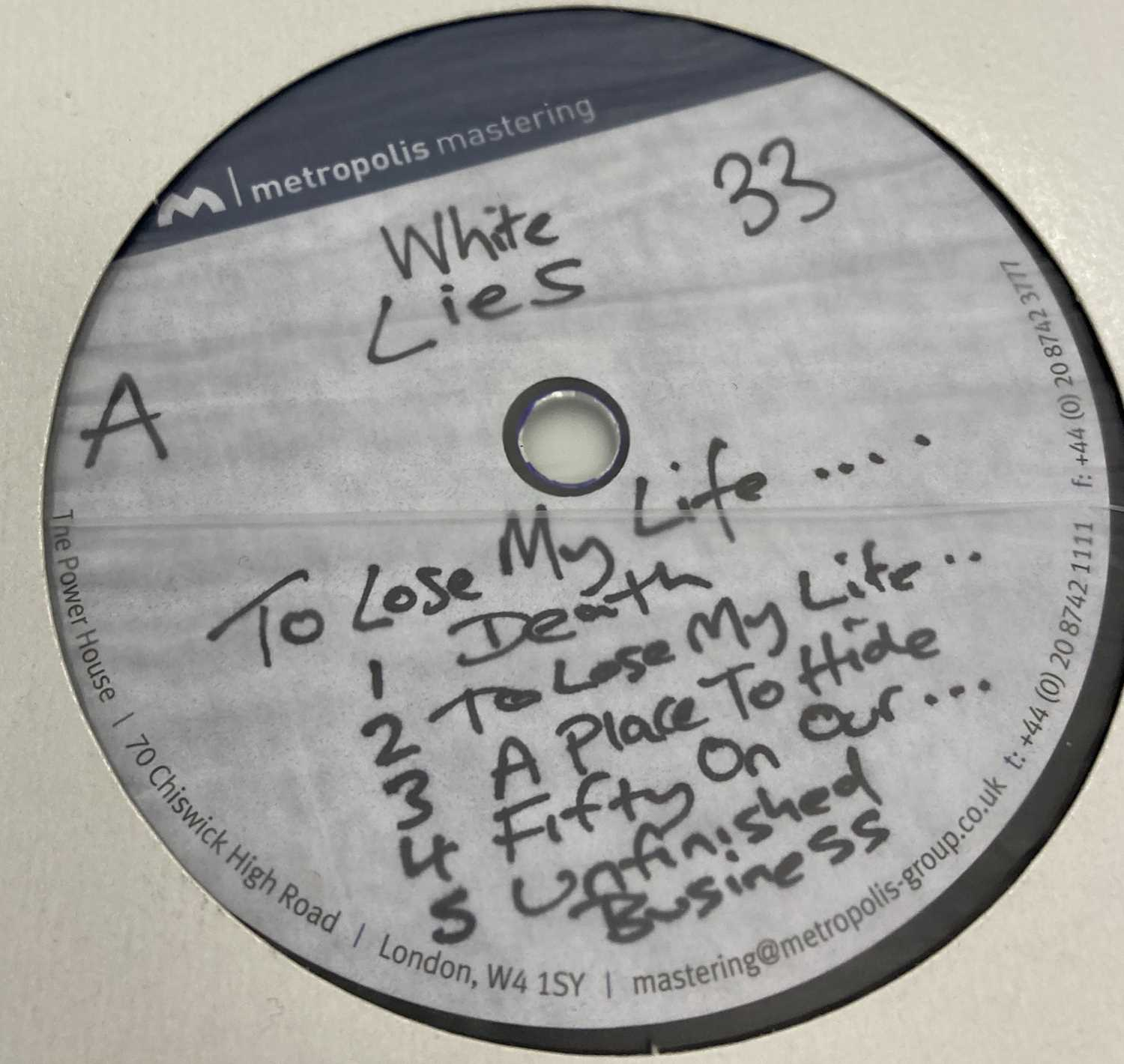 """WHITE LIES - TO LOSE MY LIFE & DEATH - LP/12"""" ACETATE RECORDINGS - Image 2 of 5"""