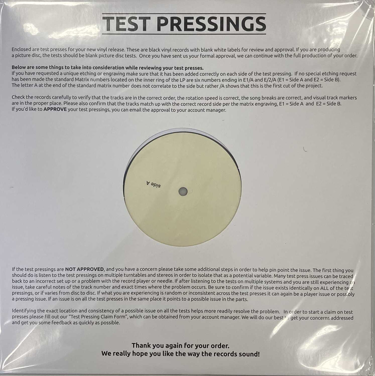 KEVIN ROWLAND - MY BEAUTY LP (2020 WHITE LABEL TEST PRESSING) - Image 2 of 2