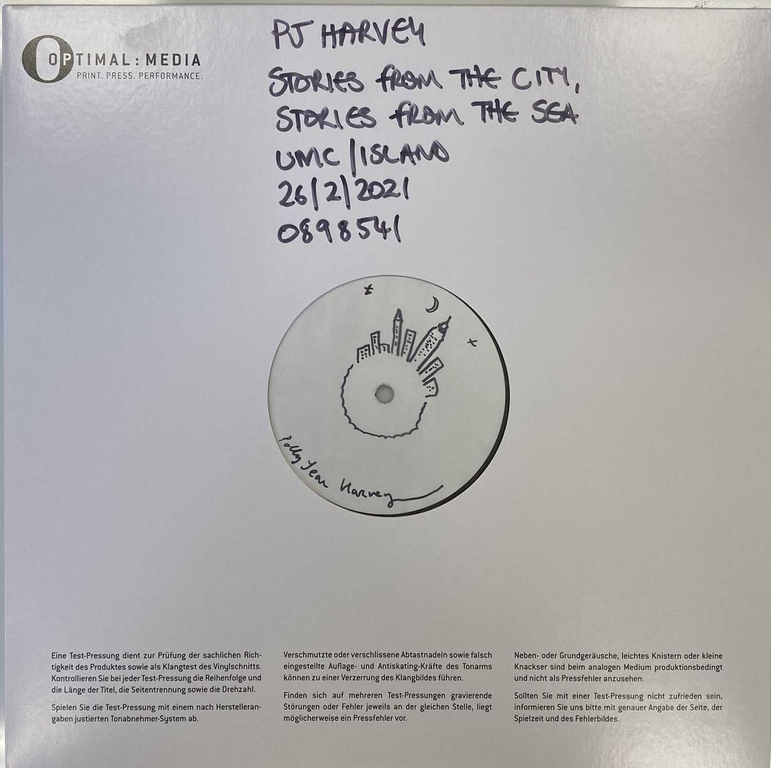 PJ HARVEY - STORIES FROM THE CITY, STORIES FROM THE SEA LP (SIGNED & ILLUSTRATED WHITE LABEL TEST PR