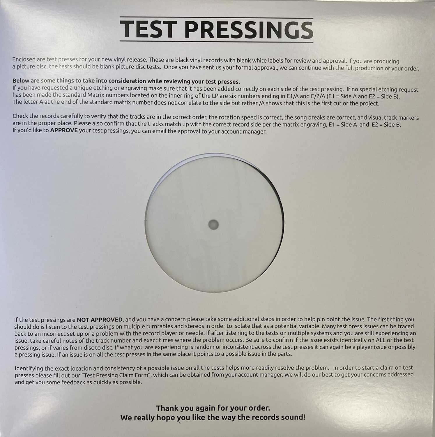 DUSTY SPRINGFIELD - IN MEMPHIS LP (2018 WHITE LABEL TEST PRESSING) - Image 2 of 2
