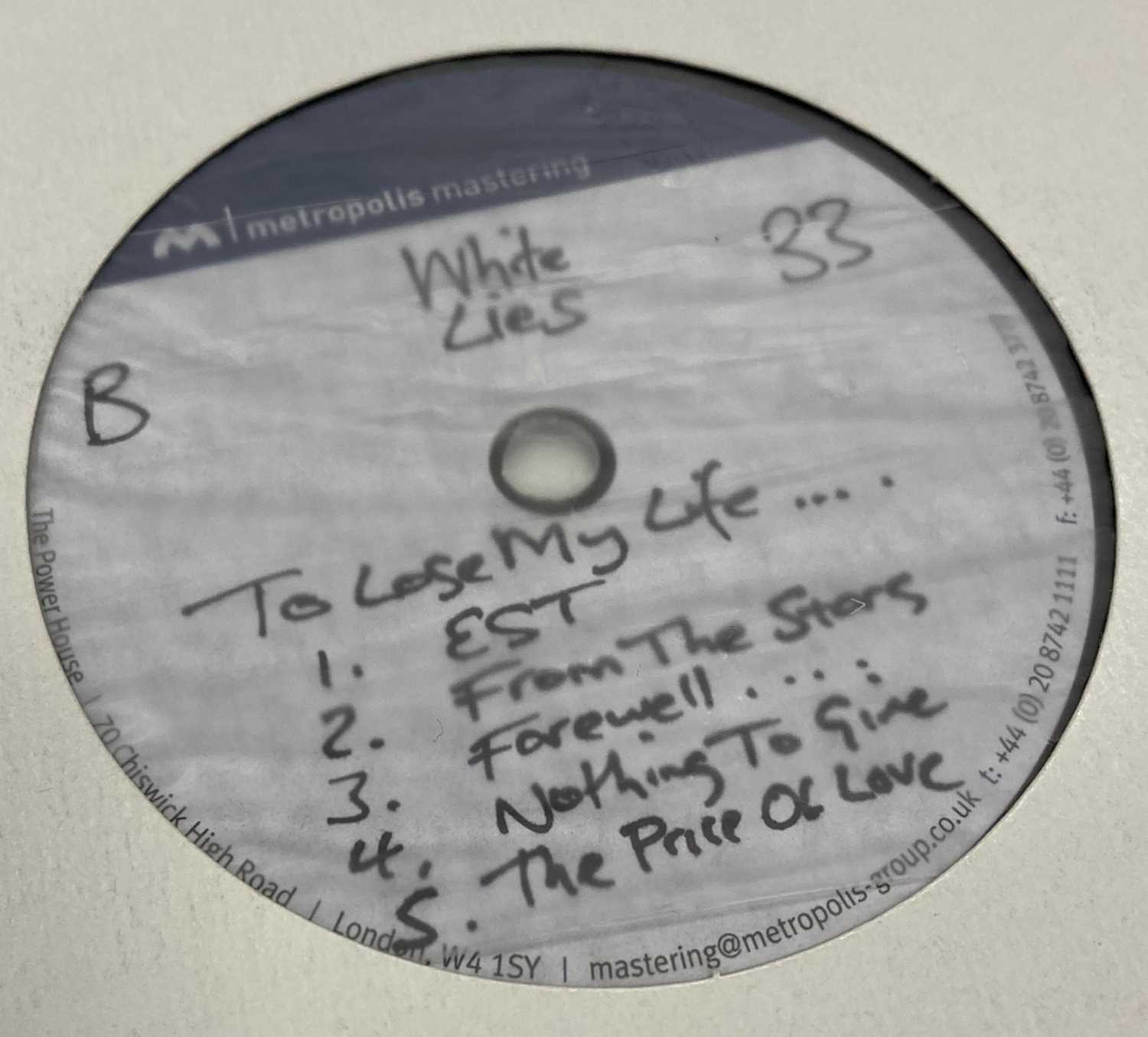 """WHITE LIES - TO LOSE MY LIFE & DEATH - LP/12"""" ACETATE RECORDINGS - Image 5 of 5"""