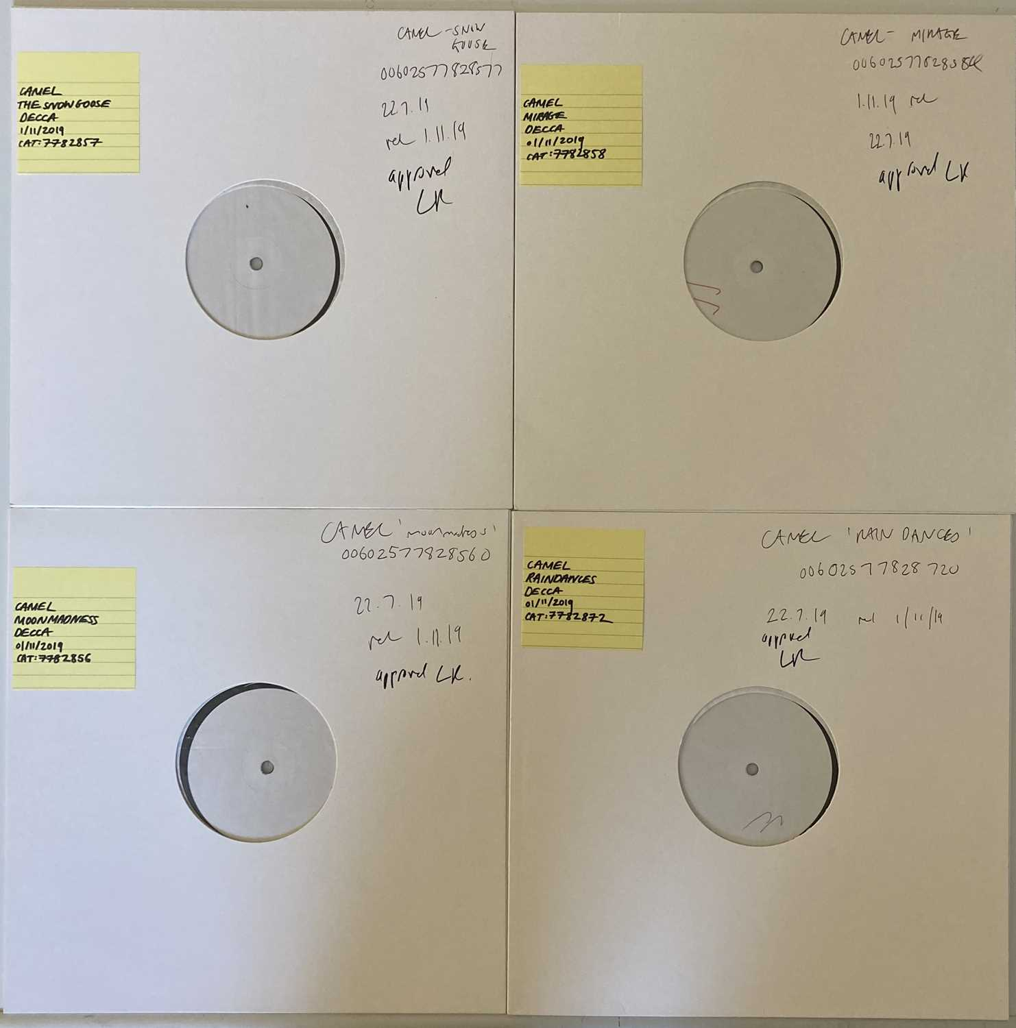 CAMEL 2019 REISSUES - WHITE LABEL TEST PRESSINGS.