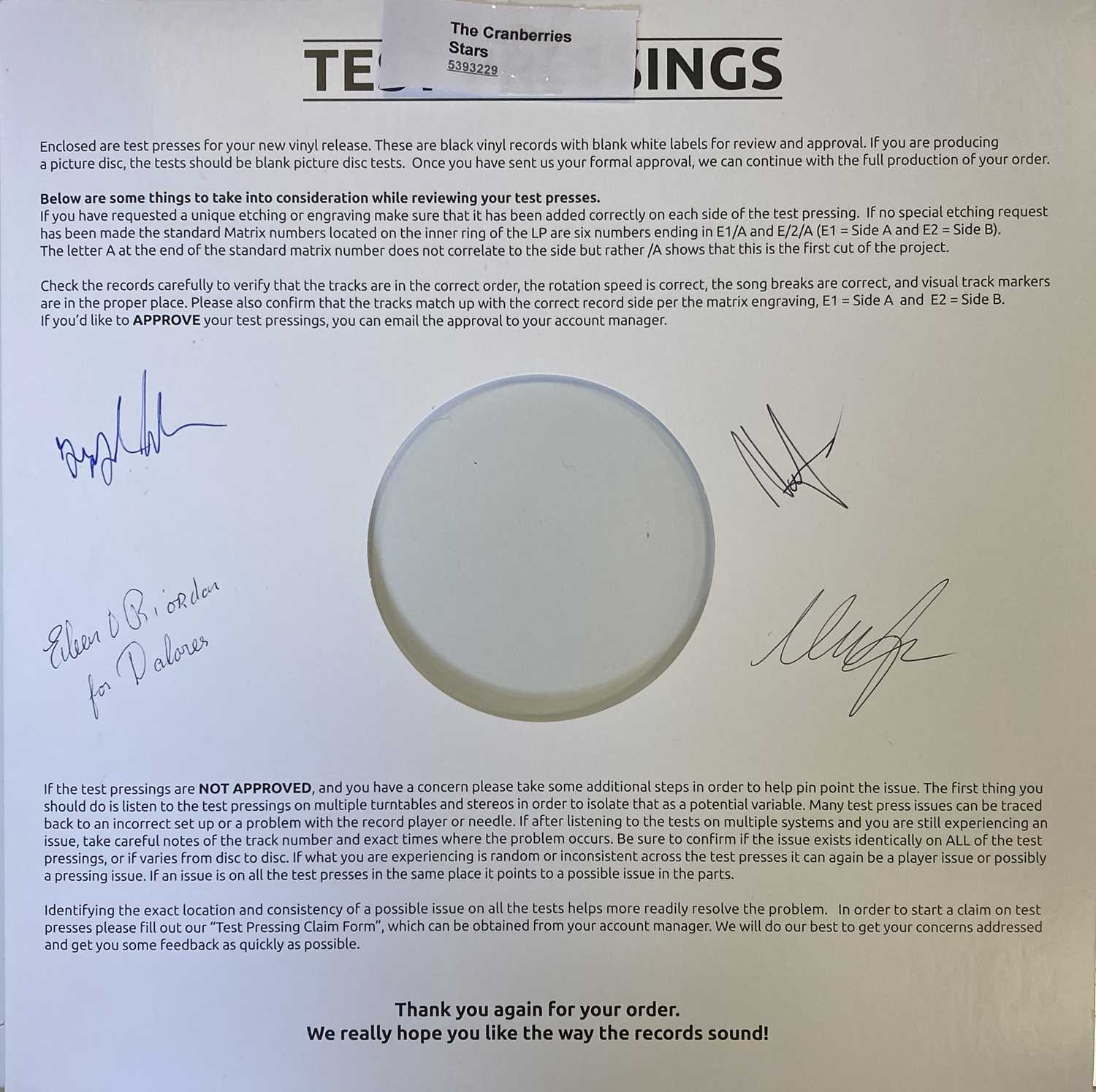 CRANBERRIES - STARS WHITE LABEL TEST PRESSING SIGNED BY THE BAND AND EILEEN O'RIORDAN.