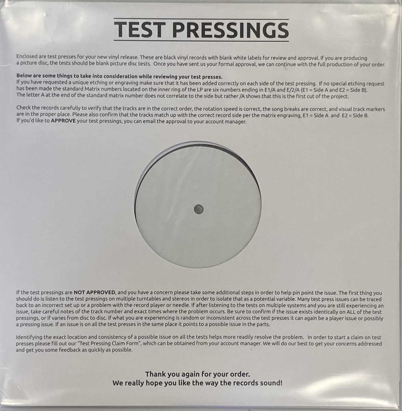 EMBRACE - THE GOOD WILL OUT LP (2019 WHITE LABEL TEST PRESSING - UMG 0830776) - Image 2 of 3