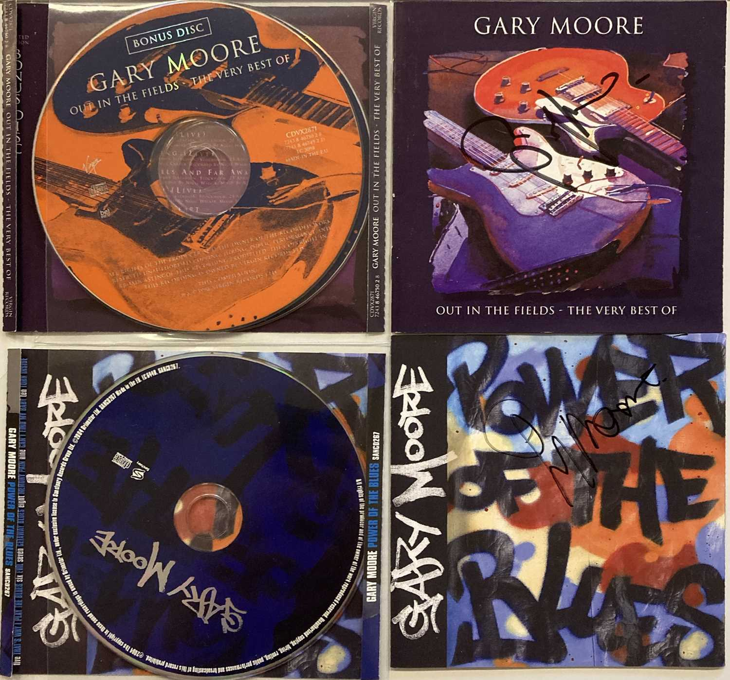 GARY MOORE - SIGNED CD COVERS.