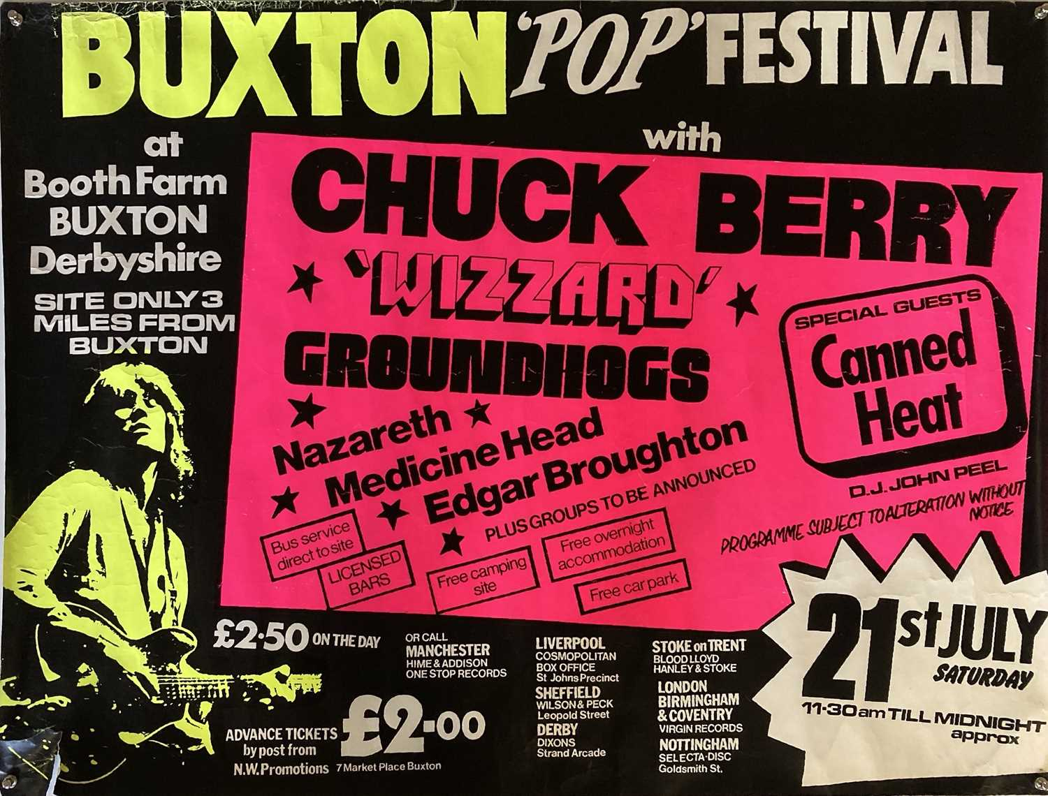 BUXTON FESTIVAL 1972 POSTER - CHUCK BERRY / CANNED HEAT.
